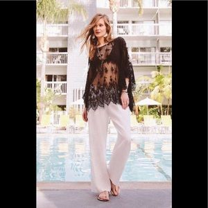 Johnny Was Love blk lace tunic XS